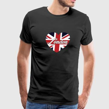 London British Flag Heart United Kingdom Cute - Men's Premium T-Shirt