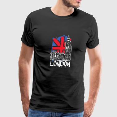 London Big Ben National Flag Westminster Palace - Men's Premium T-Shirt