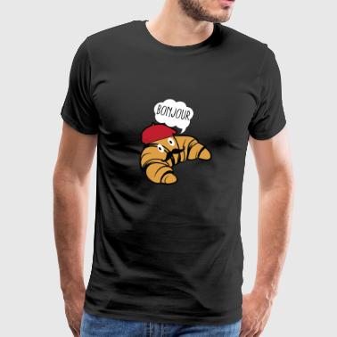 Bonjour Croissant With Mustache And Beret Hat Food - Men's Premium T-Shirt