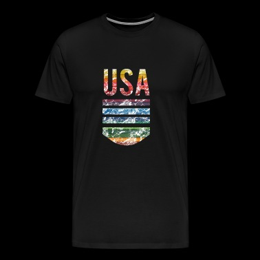 USA Spirit American Pride Rainbow Design - Men's Premium T-Shirt