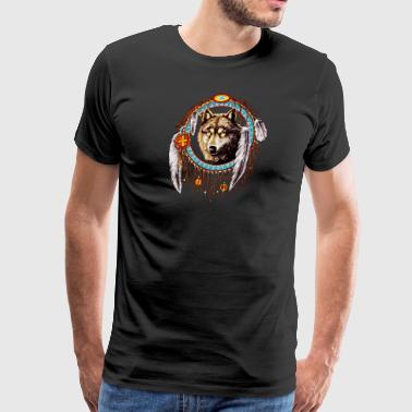 Wolf dream catcher Indian Native - Men's Premium T-Shirt