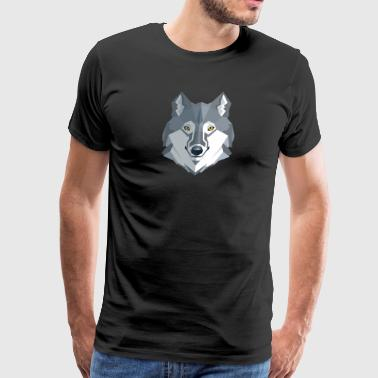 Happy Wolf Face - Men's Premium T-Shirt