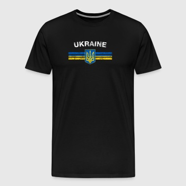 Ukrainian Flag Shirt - Ukrainian Emblem & Ukraine - Men's Premium T-Shirt