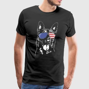 BELGIAN MALINOIS with America Flag Sunglasses - Men's Premium T-Shirt