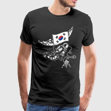 Astronaut moon Korean Republic flag - Men's Premium T-Shirt
