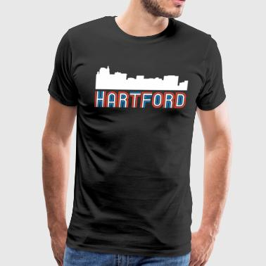 Red White Blue Hartford Connecticut Skyline - Men's Premium T-Shirt