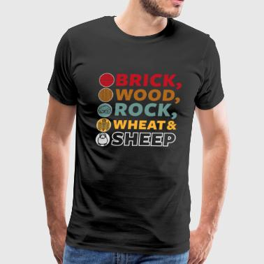 Brick Wood Rock Wheat & Sheep - Board Game Settler - Men's Premium T-Shirt