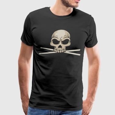 Drummer Skull With Drum Sticks - Men's Premium T-Shirt