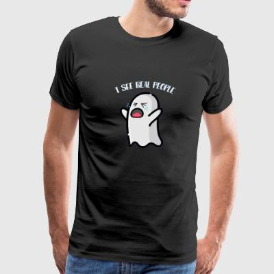 I See Real People Funny Haloween T shirt - Men's Premium T-Shirt