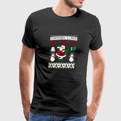 Christmas Ugly Sweater Champaign Illinois - Men's Premium T-Shirt