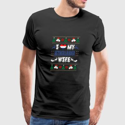 I Love My Netherlander Wife Ugly Christmas Sweater - Men's Premium T-Shirt