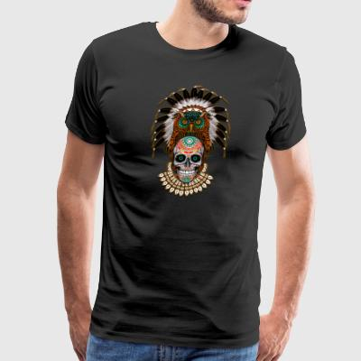 indian native Owl sugar Skull - Men's Premium T-Shirt