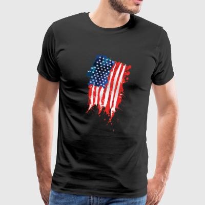 Flag of The United States of America brush stroke - Men's Premium T-Shirt