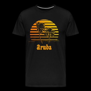 Aruba Sunset Palm Trees - Men's Premium T-Shirt