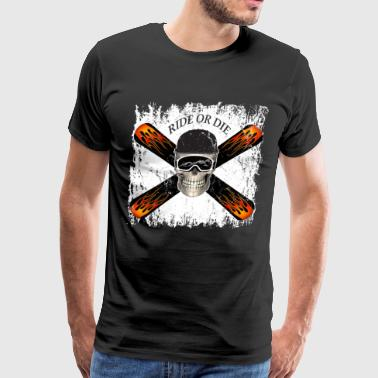 Snowboarder Skull Ride or die - Men's Premium T-Shirt