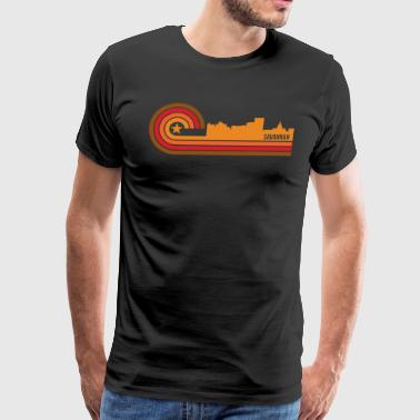Retro Style Savannah Georgia Skyline - Men's Premium T-Shirt
