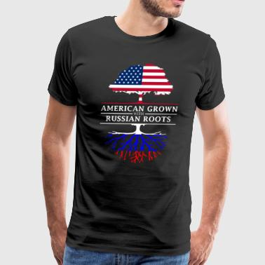 American Grown with Russian Roots Russia Design - Men's Premium T-Shirt