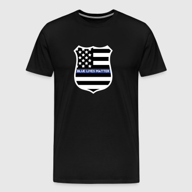 Blue Lives Matter - Flag Shield - Men's Premium T-Shirt