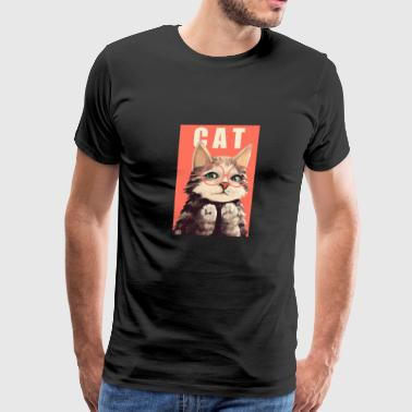 Cat with Glasses - Men's Premium T-Shirt