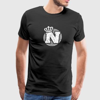 Name Letter N Character Case Alphabetical Crown - Men's Premium T-Shirt