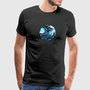 Painted abstract artistic maverick wave ocean art - Men's Premium T-Shirt