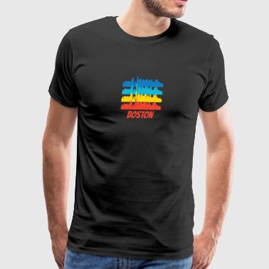 Retro Boston MA Skyline Pop Art - Men's Premium T-Shirt