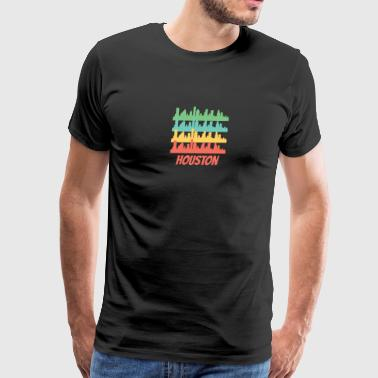 Retro Houston TX Skyline Pop Art - Men's Premium T-Shirt