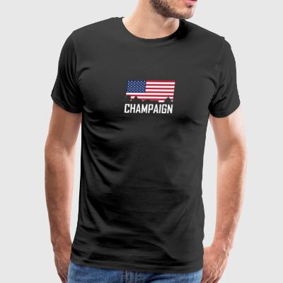 Champaign Illinois Skyline American Flag - Men's Premium T-Shirt