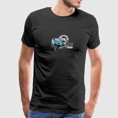 BLUE TOYOTA FJ40 WITH RETRO LOGO - Men's Premium T-Shirt