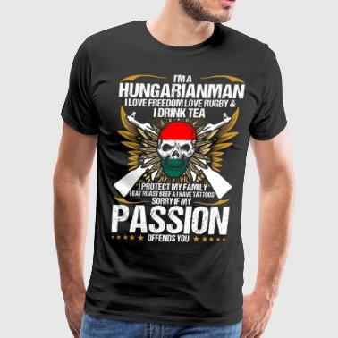 Im A Hungarianman I Love Freedom Love Rugby - Men's Premium T-Shirt