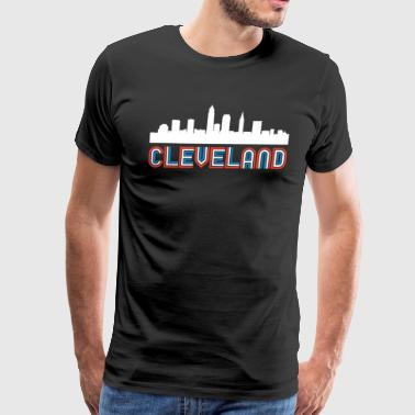 Red White Blue Cleveland Ohio Skyline - Men's Premium T-Shirt