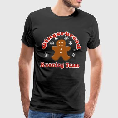 Gingerbread Running Team Funny Christmas - Men's Premium T-Shirt