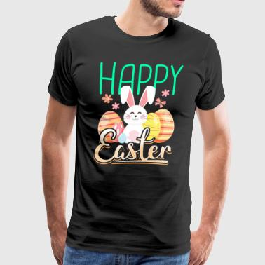 Happy Easter with rabbit bunny eggs gift - Men's Premium T-Shirt