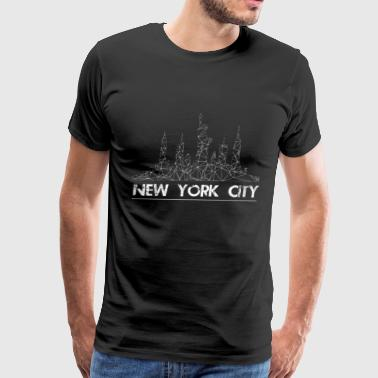 New York City skyline in lines - Men's Premium T-Shirt