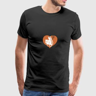 Valentine Cat and Mouse with Cheese and Heart - Men's Premium T-Shirt
