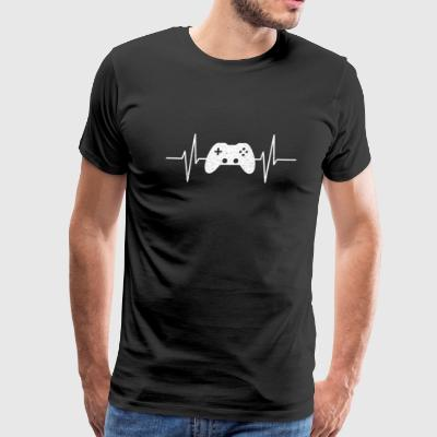 GAMING IS MY LIFE GAMER VIDEOGAMES COOL HEARTBEAT - Men's Premium T-Shirt