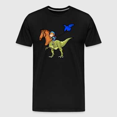Boy Funny Dino Horse School Rider Riding Gift Idea - Men's Premium T-Shirt
