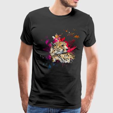 Cheetah Watercolor Tee Shirt - Men's Premium T-Shirt