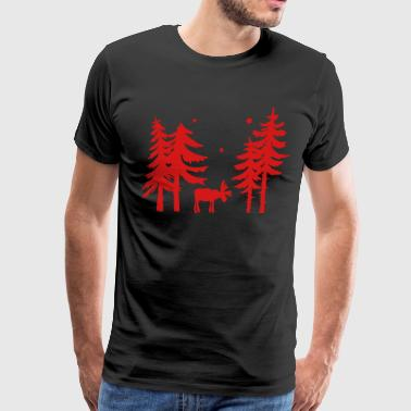 Elk in the forest. Wild with firs and stars. - Men's Premium T-Shirt