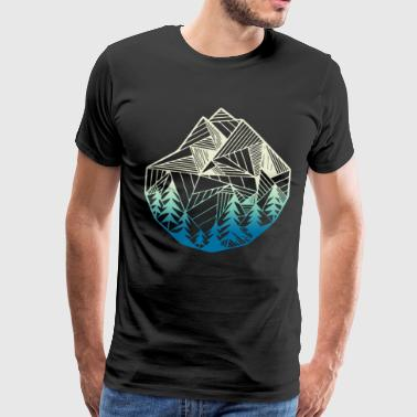Minimal Mountains Geometry Outdoor Hiking T Shirts - Men's Premium T-Shirt