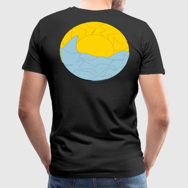 Abstract Wave and Sunset - Men's Premium T-Shirt