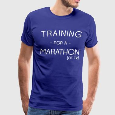 Training for a marathon of TV - Men's Premium T-Shirt