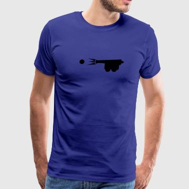 old style cannon shooting cannon ball - Men's Premium T-Shirt