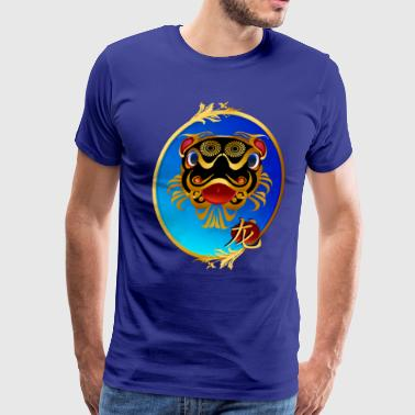 Black and Gold Chinese Dragon and Symbol - Men's Premium T-Shirt