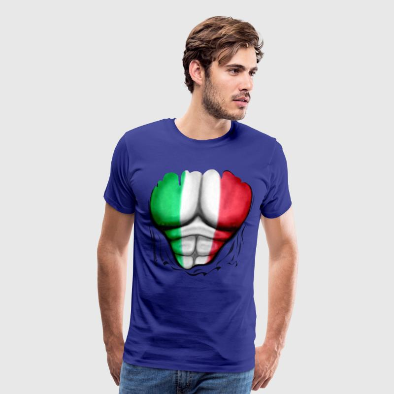 Mexico Flag Ripped Muscles, six pack, chest t-shirt - Men's Premium T-Shirt