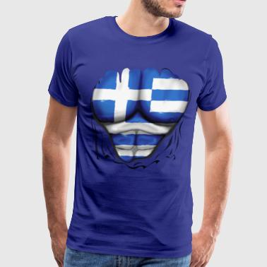 Greece Flag Ripped Muscles, six pack, chest t-shir - Men's Premium T-Shirt