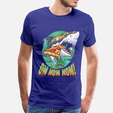 Funny Collection Great White Shark Pizza - T-shirt premium pour hommes
