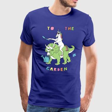 To The Garden Unicorn Riding Dinosaur - Men's Premium T-Shirt
