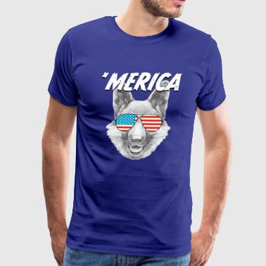 'Merica Funny German Shepherd Dog Shirt - USA tee - Men's Premium T-Shirt