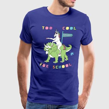 Too Cool For School Unicorn Riding Dinosaur - Men's Premium T-Shirt